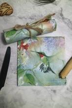 25 cm 20 נייר מפיות רקמות חמוד Hummingbird פרח מטפחת שמן קרפט מגזרת נייר ילדה ילד קיד מסיבת חתונה אריזות דקו