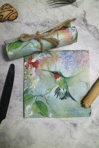 Image 1 - 25 cm 20 giấy tissue khăn ăn dễ thương Hummingbird hoa khăn tay dầu thủ công decoupage cô gái boy kid đảng đám cưới khăn ăn deco