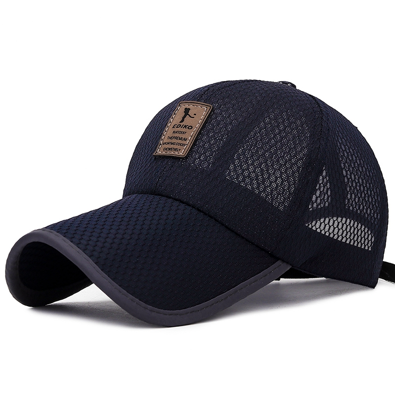 01brim Full Net Baseball Cap Outdoor Breathable Shade Mesh Cap Men And Women Leather Standard Sunscreen Big Hat Summer Long Hat