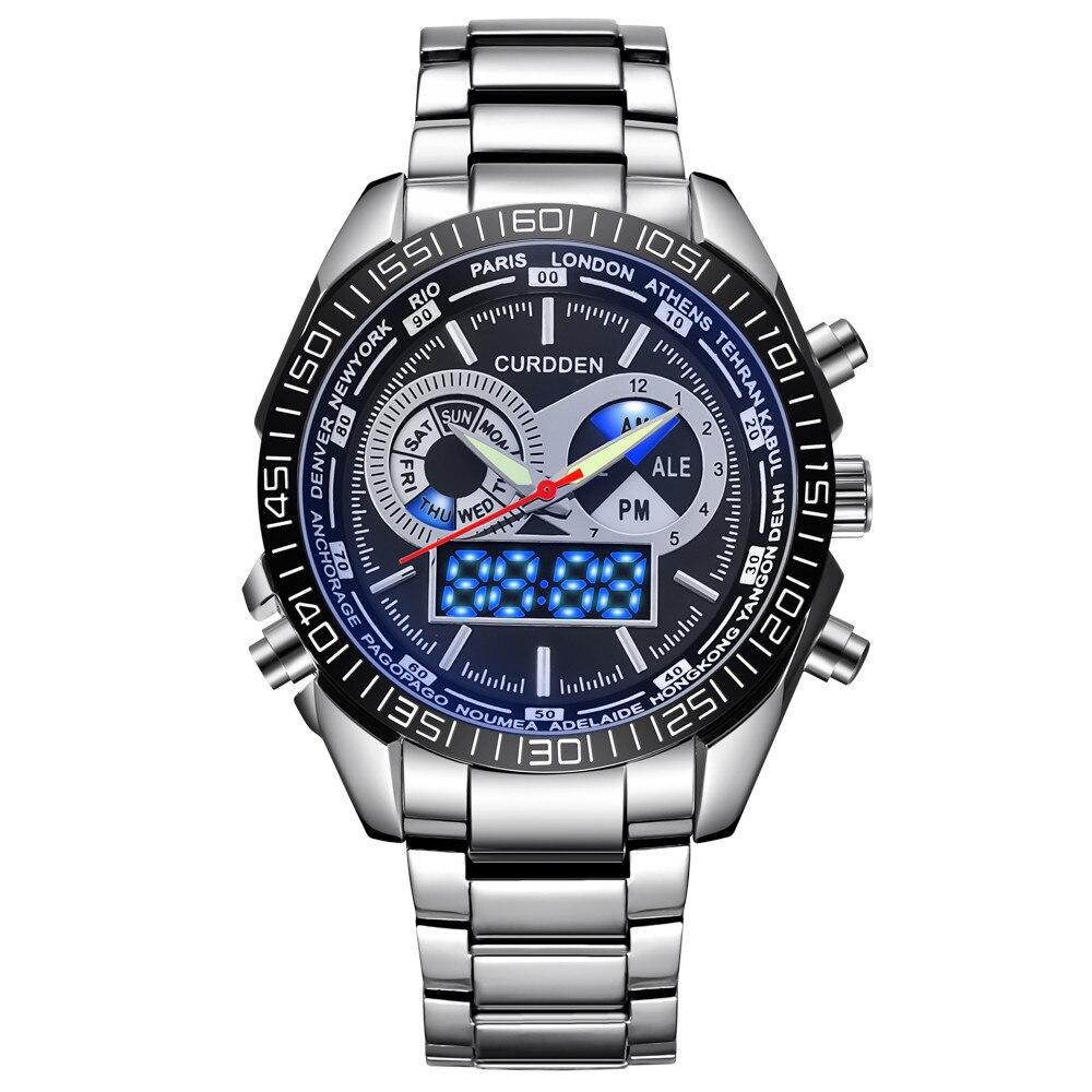 цена на CURDDEN 668 Luxury Dual Movt Men Quarz Analog Digital LED Sport Wrist Watch Y011023
