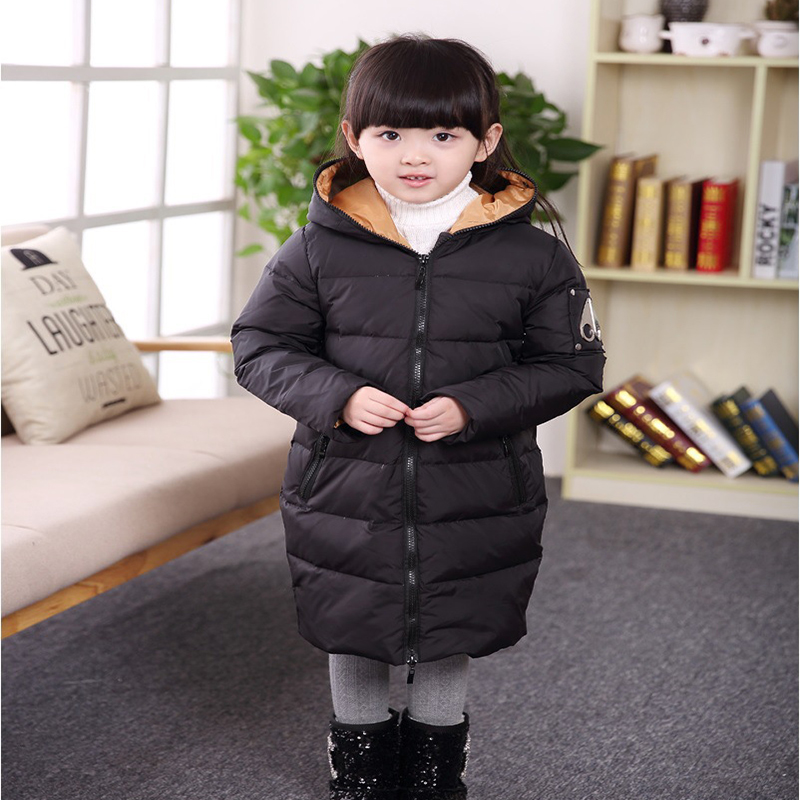 Russian Winter Long Girls Down Coats Thick Warm Children Coats With Fur Hooded Baby Girls Jackets