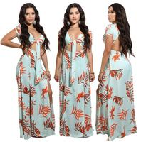 In The Summer Of 2017 European And American Fashion Collar Band V Printing Leaves Backless Dress