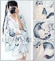 Japón Mujeres del verano de Manga Larga Azul Gris Gato Haori Yukata Kimono Outwear