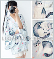 Summer Japan Women Long Sleeve Blue Gray Cat Haori Kimono Yukata Coat Outwear
