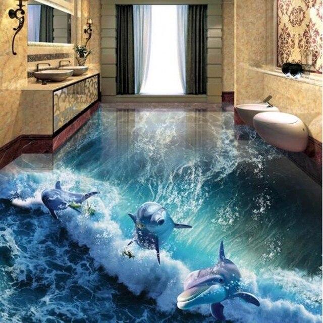 Beibehang Maken grootte orde 3D foto vloer behang 3D dolfijn wereld ...