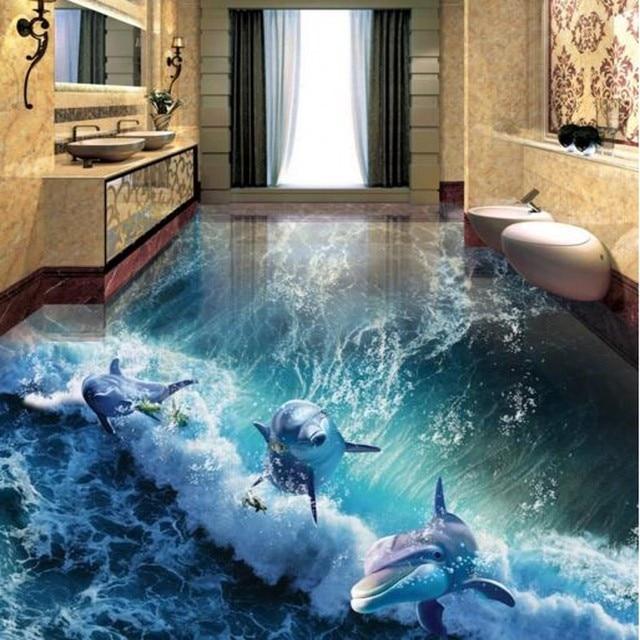 Beibehang Maken maat order 3D foto vloer behang 3D dolfijn wereld ...