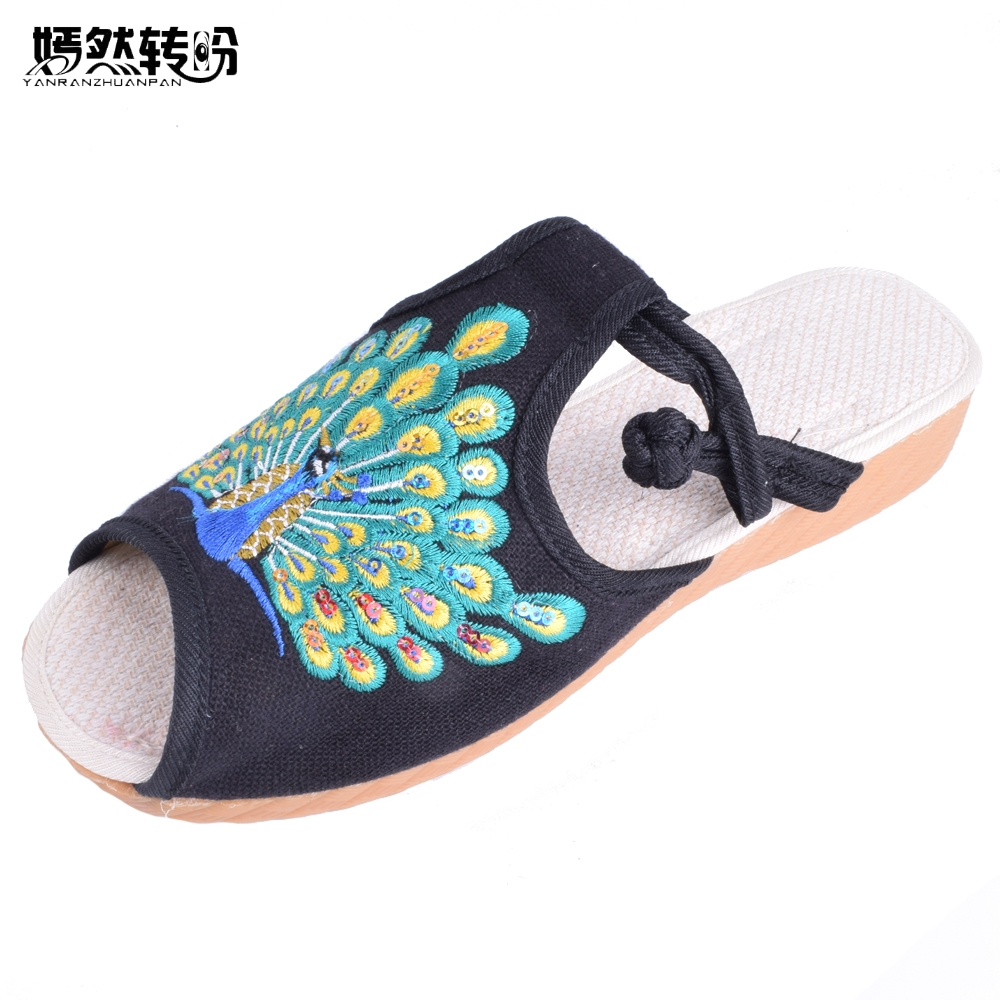 Vintage Women Shoes Peacock Embroidery Cotton Slippers Fashion Sandals Chinese Casual Slide Flat Shoes Slip on Peep Toe Sandials skytech m62r 4 ch 360 flips 2 4ghz radio control rc quadcopter drone with 6 axis gyro hd fpv camera helicopter rtf