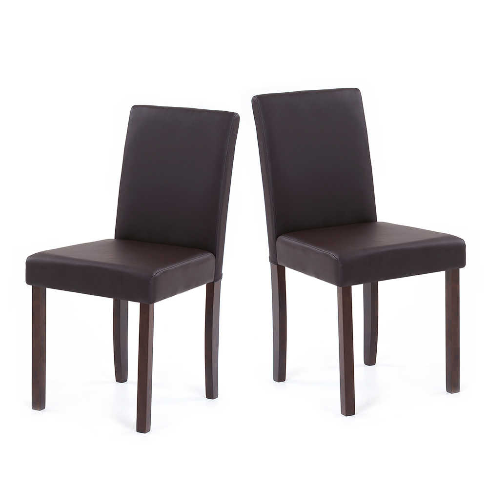 Superb Ikayaa Us Stock Faux Leather Dining Chairs Wood Frame Padded Kitchen Side Parson Breakfast Stools Restaurant Furniture Cadeira Evergreenethics Interior Chair Design Evergreenethicsorg