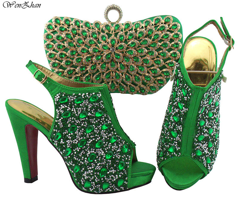 Army Green Fshion Shoes And Bag Set High Heel Nigerian Shoes and Matching Bags Wtih Crystal For Parties Wedding WENZHAN B811-24