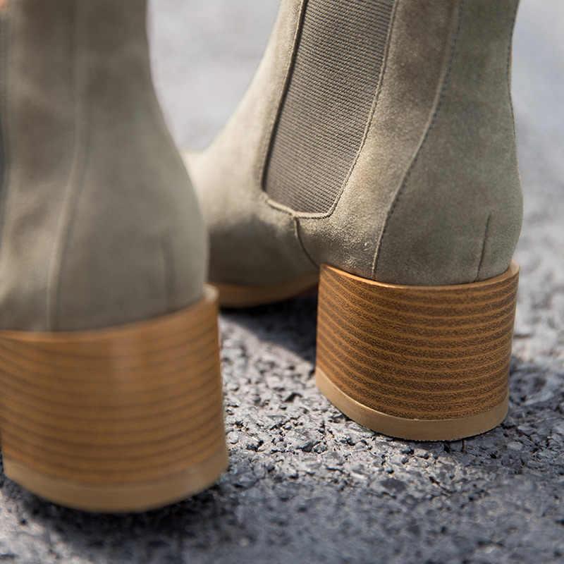 BeauToday Chelsea Çizmeler Kadın Inek Süet Sivri Burun Tıknaz Topuk Elastik Bayanlar yarım çizmeler El Yapımı A03324