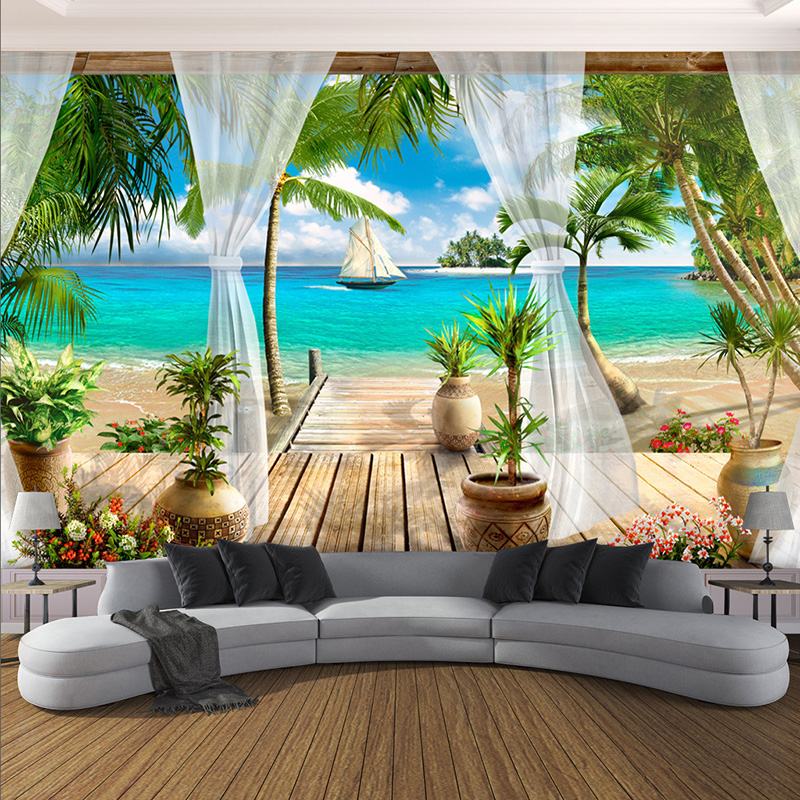 Custom Mural Wallpaper Modern 3D Balcony Sea View Background Wall Paper Living Room Bedroom Home Decor Wall Covering Papel Mural