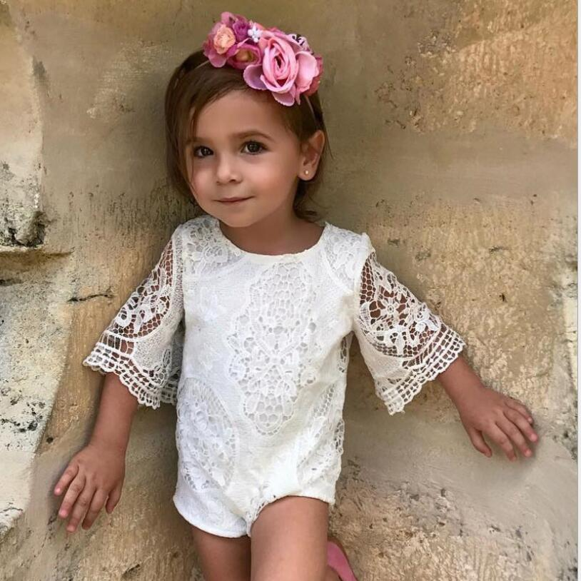 Baby Girl Rompers Summer Cotton Infant Jumpsuits Bebes white lace Newborn Princess dress Toddler Girls dresses Clothes