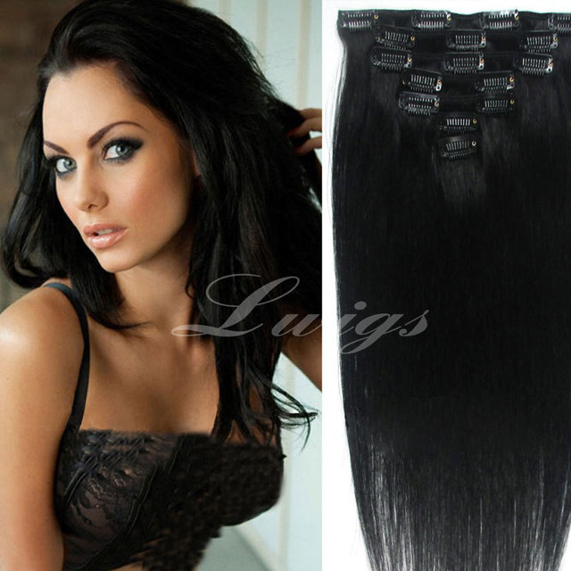 Online shop straight human hair extensionnatural black color 7pcs straight human hair extensionnatural black color 7pcs clip in human hair extensions 12 26inch for black women pmusecretfo Images