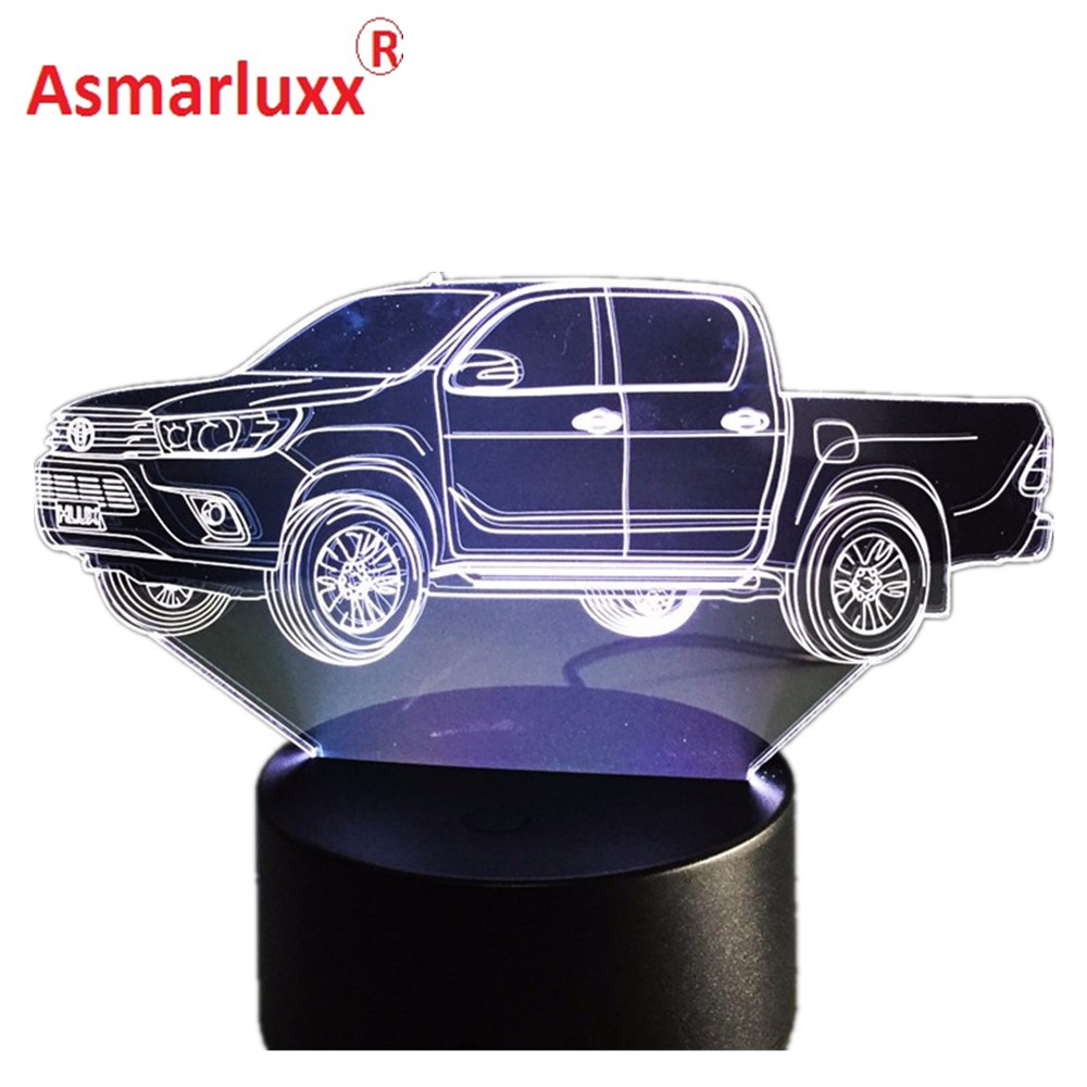 3D Truck 3D Hologram Lamp Multi-color Change Night Light Acrylic Lampada LED Illusion Lamp Bedside Lamp Cool Toy Free Drop Ship