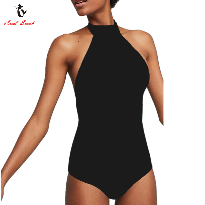 Ariel Sarah Halter One Piece Swimsuit Plus size Swimwear Women Party Large size Bathing Suit Sexy Monokini Maillot De Bain Q337 2017 women sexy halter one piece swimsuit sports large size bathing suit monokini swimwear girl kyl1741 free shipping