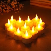 Smuxi 12 LED Rechargeable Flamless Candles Tealight with Flickering Holders Wedding LED Electronic Candle Night Light