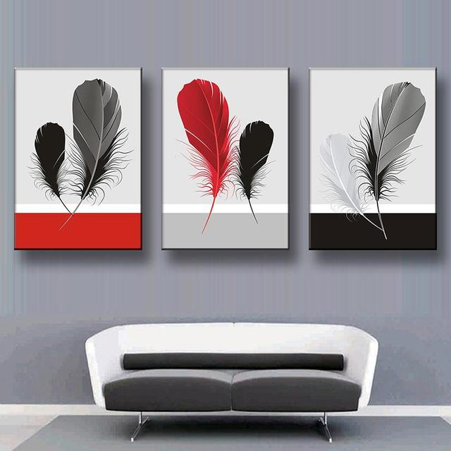 3Pcs/Set Abstract Canvas Painting Feather Canvas Wall Art Picture  Decoration Home Office Wall Pictures