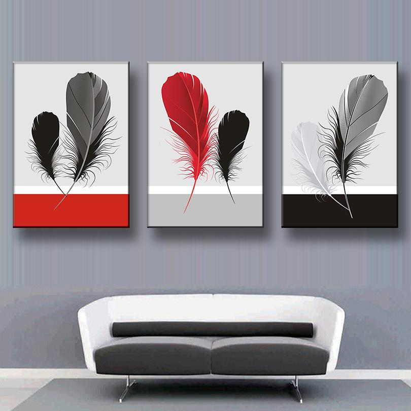 Pcsset Abstract Canvas Painting Feather Canvas Wall Art Picture Decoration  Home Office Wall Pictures With Abstract Painting For Office.