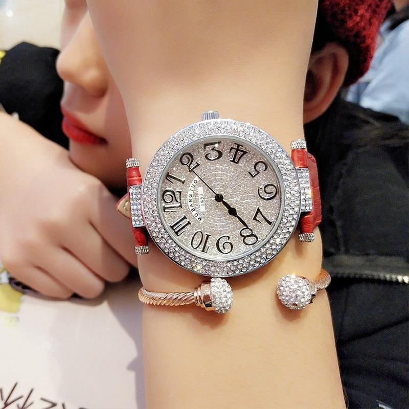 Women Watches Leather Strap Crystal Quartz Watch Woman Casual Ladies Female Clock Lady Wrist Watch For Women  Relogio Feminino