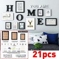 Europe Style Wall Frames Set Black White Vintage Photo Frame Wall Family Wooden Picture Frame Sets Round Picture Frames Painting