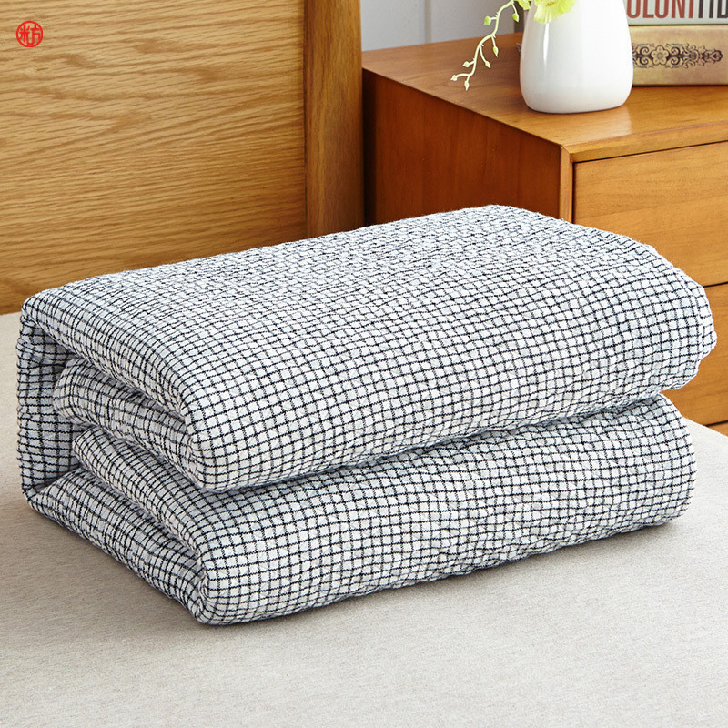Home textile washed cotton gauze blanket light gray grid ...