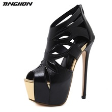 TINGHON Women Sandals Super High Heel 16CM Open The Toe Sandals Thick Heel Fashion Sexy High Heels Sandals Shoes Black summer fashion black thin high heel women sandals black crytal cover heel rear zipper leisure sandals high heel fashion sandals