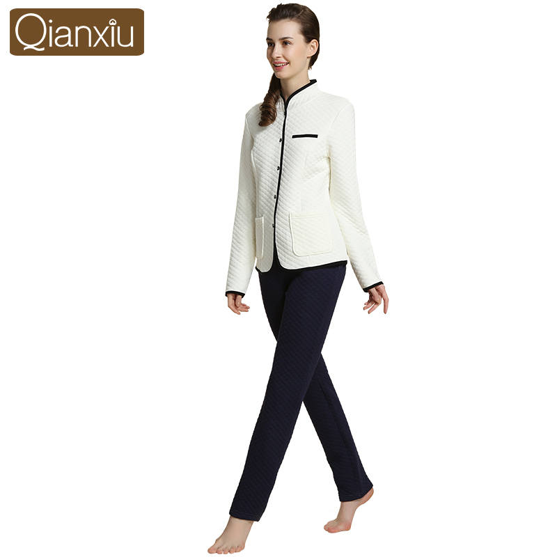 fd82d4828be0 Qianxiu Winter Thermal Thick Women Pajamas Sets Solid Cashmere Home ...