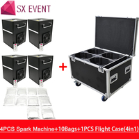 4 Pieces Machines With Flycase And 10 Bags Powder Touchable electronic stage indoor firework fountain machine cold pyro machine