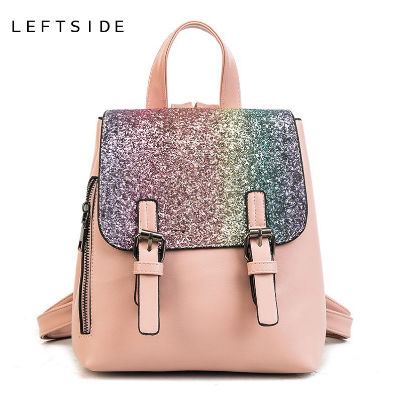 LEFTSIDE PU Leather Women Back pack 2018 Fashion Backpack Sequins Small Backpacks For Girls Gold Bag Female Bagpack On Sales leftside 2017 women leather backpack children backpack mini backpack women cute back pack backpacks for teenage girls small bag