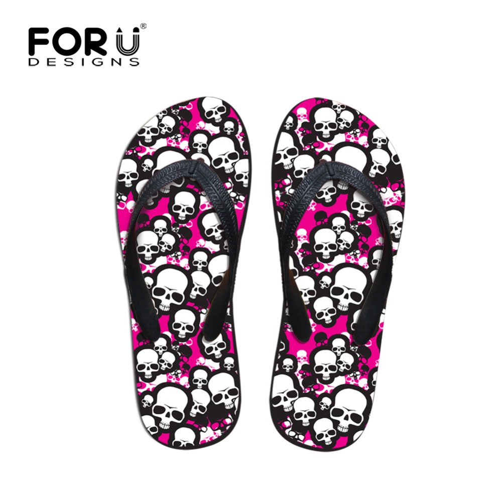 FORUDESIGNS Cute Skull Design Women Summer Flip Flops Non-slip Casual Slippers for Woman Ladies Fashion Beach Flipflops Mujer