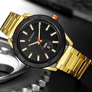 Image 2 - CURREN zegarki dla mężczyzn mężczyzna luksusowy pasek ze stali nierdzewnej zegarek na co dzień styl kwarcowy na rękę zegarek z kalendarzem czarny zegar mężczyzna prezent