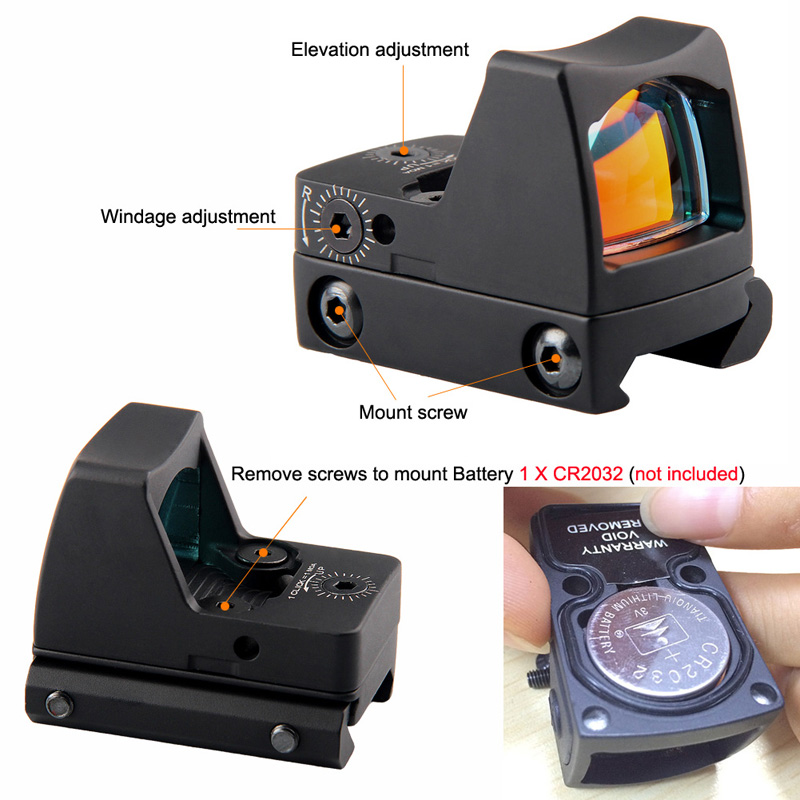 Tactical RMR Reflex Red Dot Sight Scope without OnOff Button RL5-0033-22