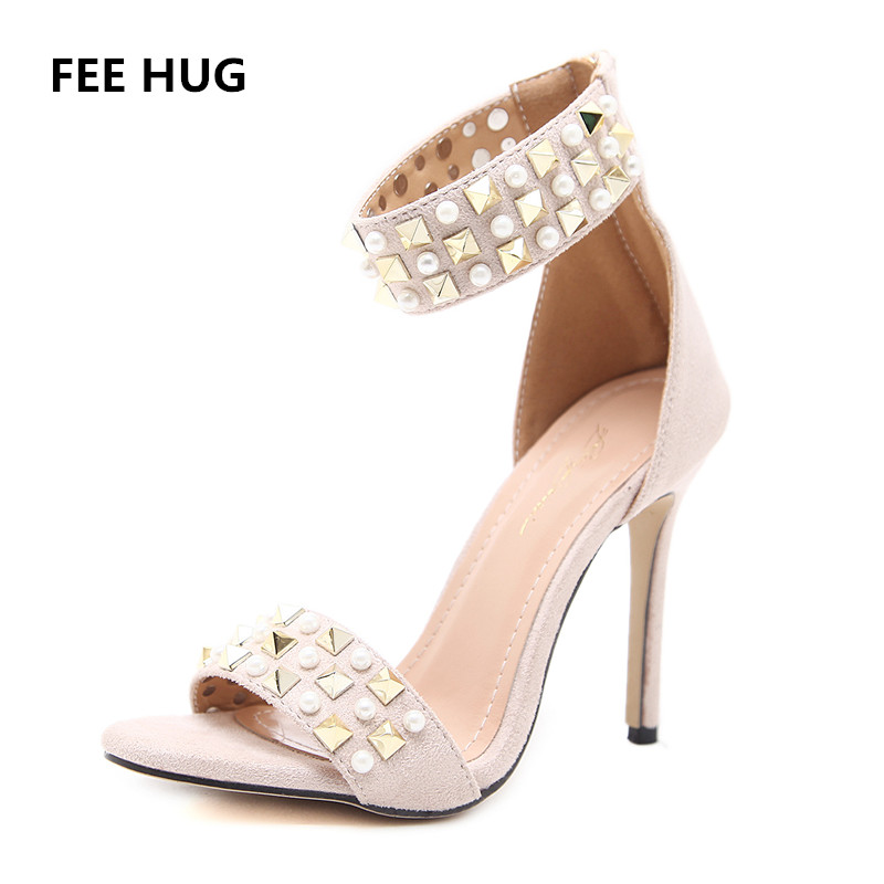 FEE HUG Fashion Summer Sandals Women Luxury Rivet High Heels Suede Leather Sexy Roman Stiletto Ladies Club Party Shoes Woman 40 bigtree summer fashion women high heels sandals suede shallow mouth pointed pearl ladies sandals sexy wedding red woman shoes