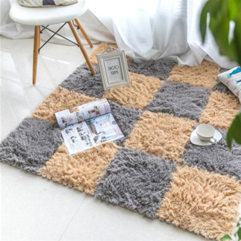 4/6/9 Pieces <font><b>30*30cm</b></font> <font><b>Carpet</b></font> Long Plush Fabric Splicing Floor Mats Children's Climbing Stitching Rugs Bedroom Living Room image