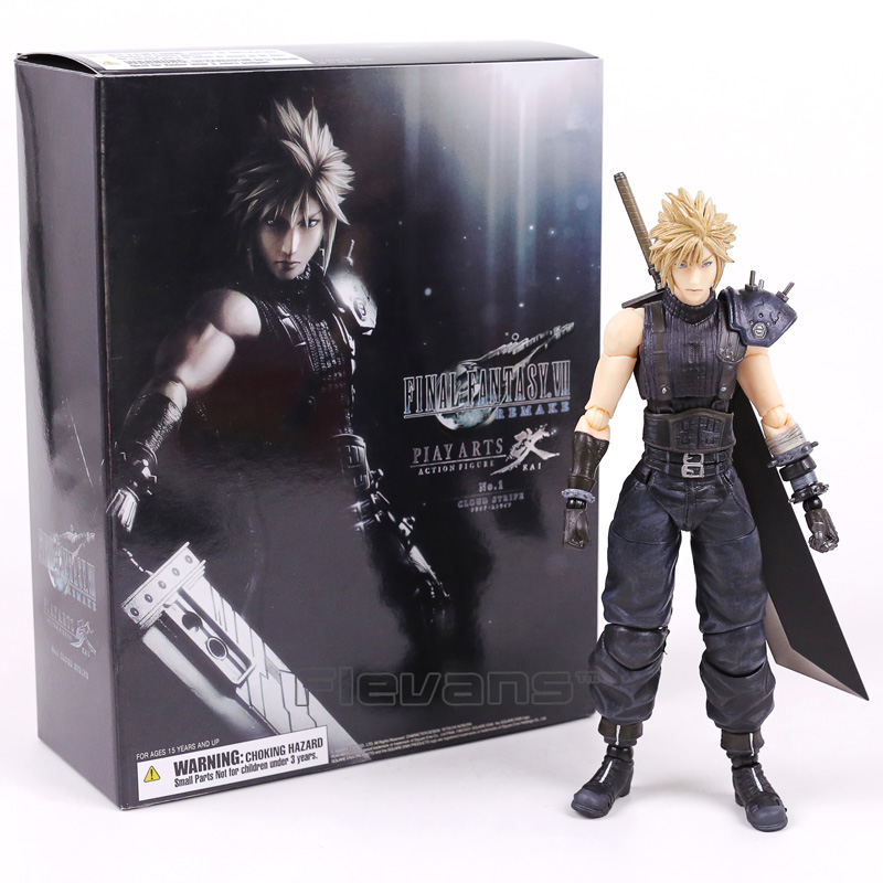 Play Arts Kai <font><b>Final</b></font> <font><b>Fantasy</b></font> VII <font><b>7</b></font> NO.1 Cloud Strife PVC Action Figure Collectible Model Toy 26cm image