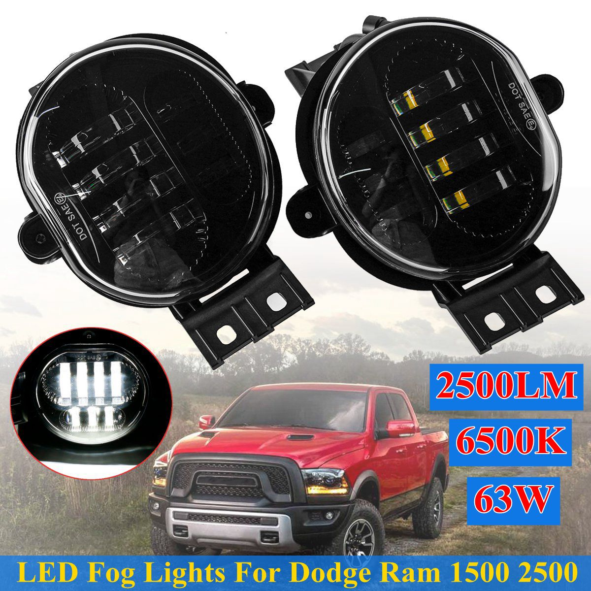 Pair Front LED Car Front Bumper Fog Light Lamp Car Styling For Dodge Ram 1500 2002-2008 2500/3500 2003-2009 Durango 2004-2006Pair Front LED Car Front Bumper Fog Light Lamp Car Styling For Dodge Ram 1500 2002-2008 2500/3500 2003-2009 Durango 2004-2006