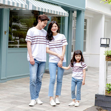 New casual parent-child wear a family of three cotton striped short-sleeved T-shirt thin section comfortable