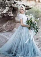2018 Фея Пляж Boho Кружева Мягкий Тюль Короткие рукава светло голубые юбки богемной свадебное платье