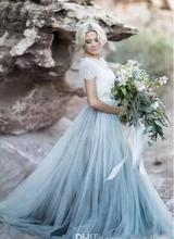 2018 Fairy Beach Boho Lace Soft Tulle short Sleeves Light Blue Skirts Bohemian Wedding Bridal Gown