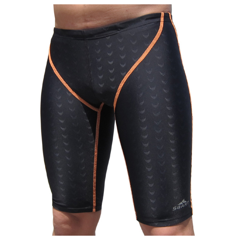 SBART Professional Quality Men Competitive Swimwear Shark Skin Swimwear Solid Dispenser Swimsuit Fifth Pant plus(Black Orange Li