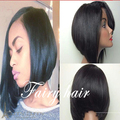 Fashion Left Part Black Bob Wigs Silky Straight Synthetic Lace Front Wig Bob Wig Heat Resistant Short Bob Style Wigs For Women