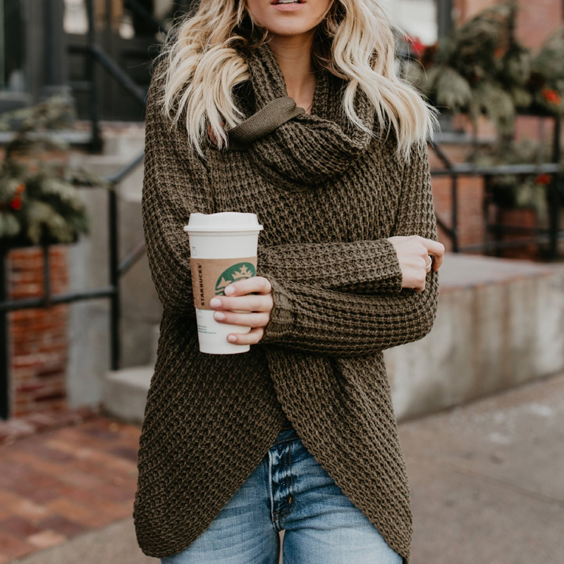 Women Autumn Winter Casual Thick Knitted Sweater Female Long Sleeve Cardigans Scraf Neck Irregular Tops Solid Color Sweater