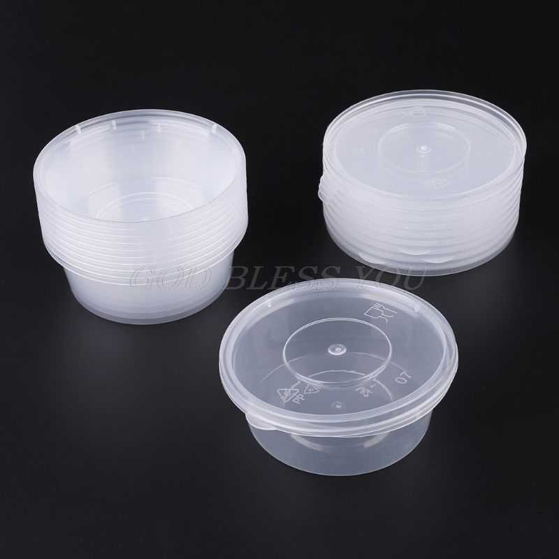 10pcs Kitchen Disposable Plastic Sauce Cup Pot Chutney Container With Lid Slime Storage Box Case 80ml