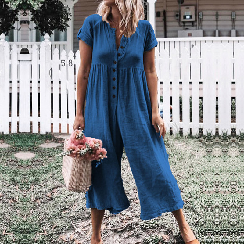 Missufe Front Button Bodysuits Women 2019 Summer Boho Playsuit Short Sleeve Rompers Cotton And Linen Casual Wide Leg   Jumpsuit