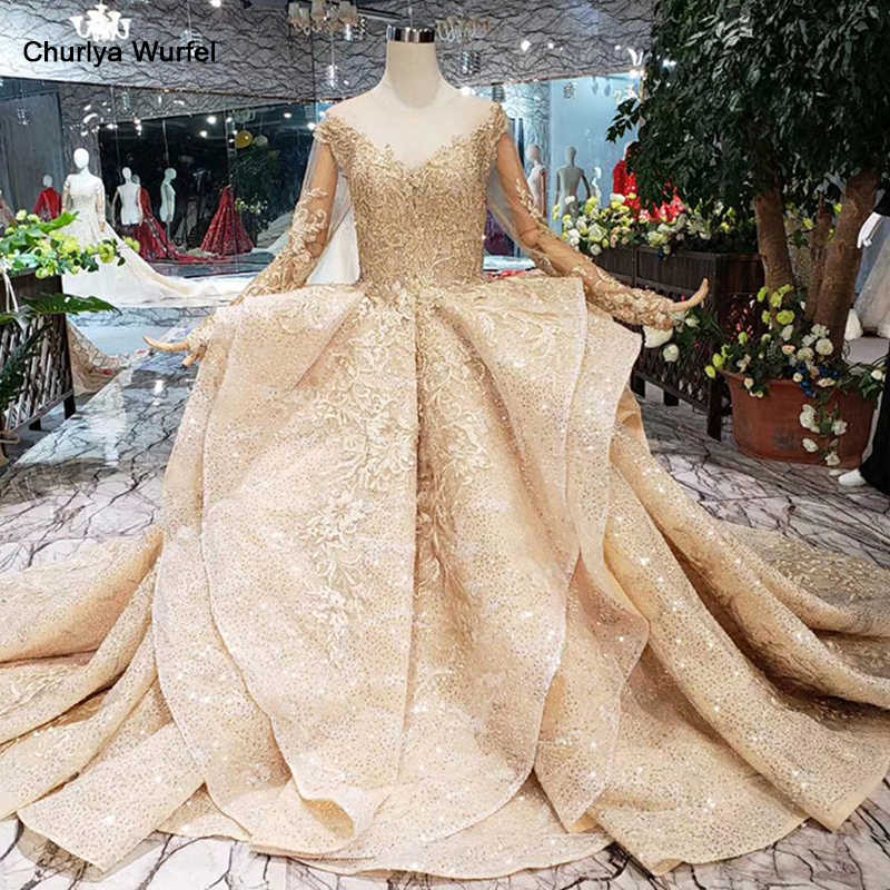 HTL151 golden puffy evening dress tulle o neck long sleeves special puffy skirt women occasion dress court train custom size