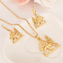 New Ethiopian Lion of Judah Pendant  Earrings Gold Color Africa Eritrea Ethnic Lions party Jewelry Set For Women girls  gifts