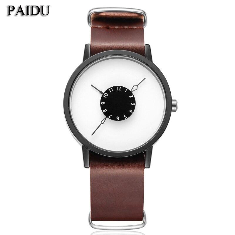 2016 mens gift PAIDU brief design long removable strap creative Upside down hand unique design for young fashion quartz watches