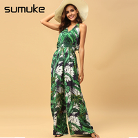 Sumuke Strap Tropical Rompers Womens Jumpsuit Backless Boho Green Wide Leg Summer Jumpsuit 2018 Chiffon Print Overall Jumpsuit