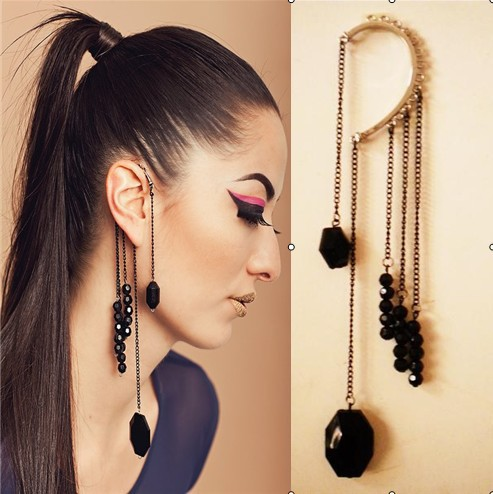 Europe America Retro Clip Earrings Without Piercing Exaggerate Black Acrylic Beads Cuff Tel Chains