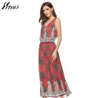 2017 HIRO Brand Boho Summer Dresses Sexy Max Dress Women Floral Print Vintage Chiffon Vestidos De